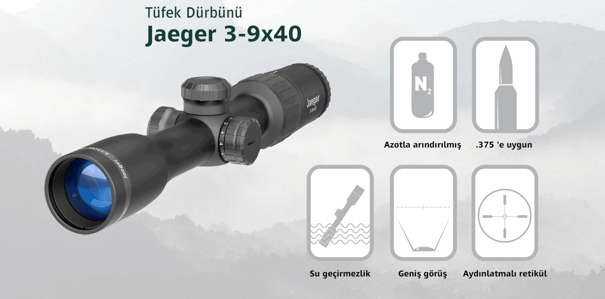 Yukon Jaeger Optik Dürbün 3-9x40